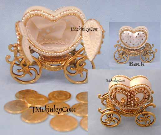 Wedding Arras Heart Carriage with Gold Arras Coins GORGEOUS Authentic Pigeon Egg Coach