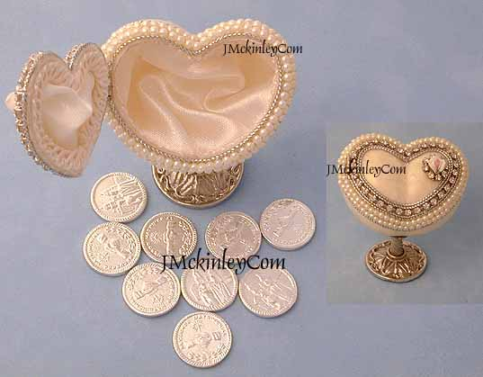 Wedding Arras Heart on stand with Silver Arras Coins GORGEOUS Authentic Heart Shape Pigeo