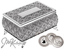 BLOWOUT SALE VERY HIGH QUALITY Beautiful silver arras box with lovely patterned design. Box is lined with blue velvet. Fits large or small coins. COINS SOLD SEPARATELY measures 3 3/4 L x 2 3/4 W x 2 H and can be personalized