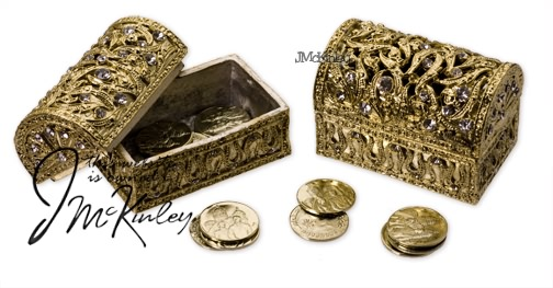 BLOWOUT SALE Gold Treasure Chest with gold arras coins cz design Quality feel Measures