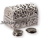 BLOWOUT SALE Silver Treasure Chest with silver arras coins cz design Quality feel  Meas