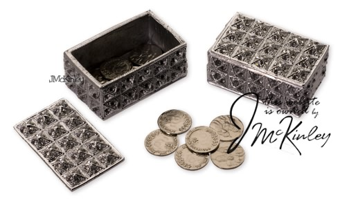 Rectangle arras box with silver arras coins cz design Measures 2 x 15 X 1H Quality fee