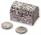 BLOWOUT SALE Silver Treasure Chest with silver arras coins great detail Quality feel Me