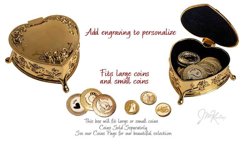 Large Gold Arras Heart Box coins sold separately