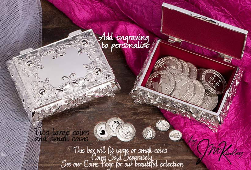 BLOWOUT SALE Stunning silver plated arras box with flowers Box is lined with burgundy velo