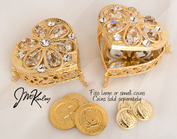 Shimmering Gold arras heart box Exquisite display of Czech rhinestones Fits large or sma