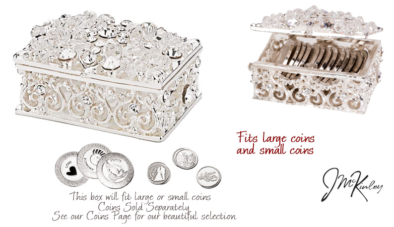 Shimmering Silver arras box Exquisite display of Swarovski crystals and Czech rhinestones