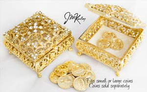Shimmering Gold square arras box. Exquisite display of Czech rhinestones. Fits large or small coins. COINS SOLD SEPARATELY measures 2 5/8 L x 2 5/8 W x 1 1/4 H