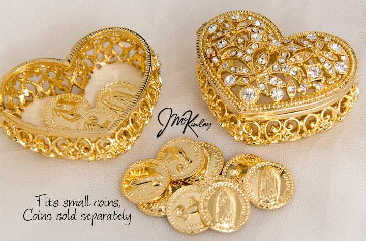 Shimmering Gold arras heart box Exquisite display of Czech rhinestones Fits small coins
