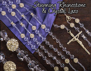 Wedding Lazo beautiful solid crystal lazo with 26 stunning shiny rhinestone balls and gol