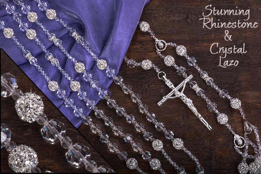 Wedding Lazo beautiful solid crystal lazo with 26 stunning shiny rhinestone balls and sil