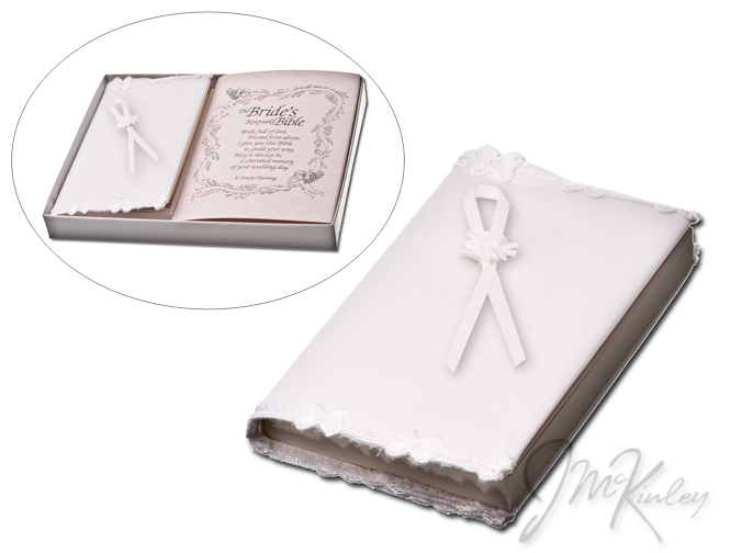 BLOWOUT SALE Wedding bible elegant white wedding bible with small ribbon embellishment