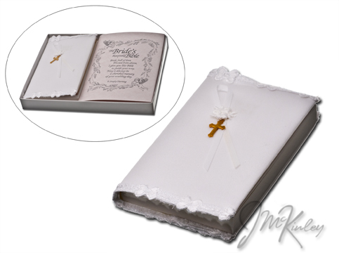 BLOWOUT SALE Wedding bible elegant white wedding bible with small gold cross