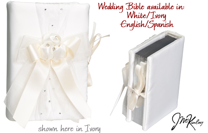 BLOWOUT SALE Beautiful IVORY wedding bible in ENGLISH with flowers and ribbons and rhinest