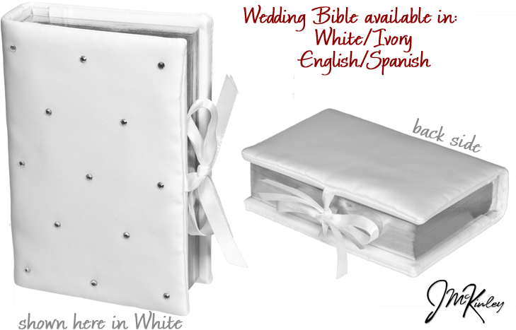 BLOWOUT SALE Beautiful WHITE wedding bible in SPANISH with rhinestones Measures 65 x 45