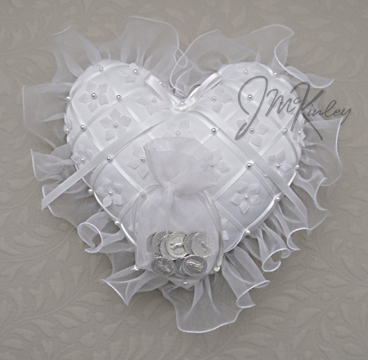 BLOWOUT SALE Elegant Heart Coin pillow Wedding arras coin pillow high quality with flowe