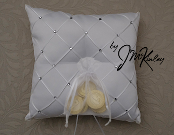 STUNNING White Wedding Arras Coin Pillow with rhinestone diamond pattern