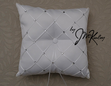 STUNNING White Wedding Arras Ring Pillow with rhinestone diamond pattern Arras de boda