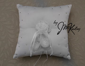 STUNNING White Wedding Arras Coin Pillow with satin rosette rhinestones and bead detail
