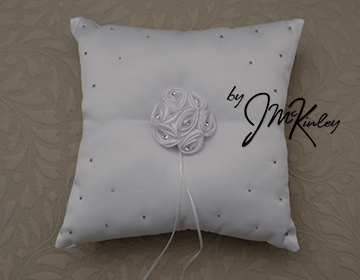 STUNNING White Wedding Arras Ring Pillow with satin rosette rhinestones and bead detail