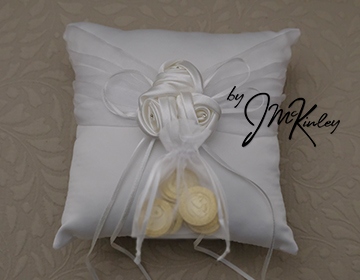 STUNNING White Wedding Arras Coin Pillow with satin rosette cluster and ribbons