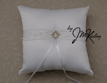 STUNNING White Wedding Arras Ring Pillow with satin rosette cluster and ribbons Arras de