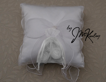 STUNNING White Wedding Arras Coin Pillow with a pearl cluster and sheer bow