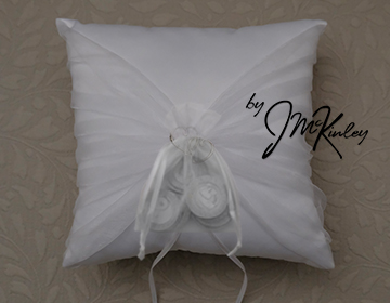 STUNNING White Wedding Arras Coin Pillow with double hearts and gathered sheer fabric