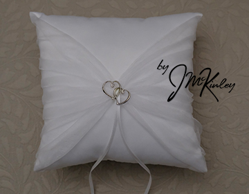 STUNNING White Wedding Arras Ring Pillow with double hearts and gathered sheer fabric Arr