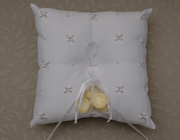 STUNNING White Wedding Arras Coin Pillow with pearl cluster details and ribbon
