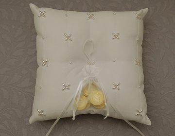 STUNNING Ivory Wedding Arras Coin Pillow with pearl cluster details and ribbon