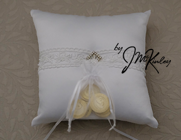 STUNNING White Wedding Arras Ring Pillow with elegant lace and rhinestone center Arras de