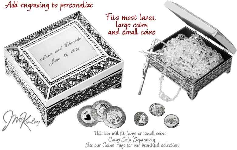 Stunning design on lasso box or arras coins box can be personalizedengraved
