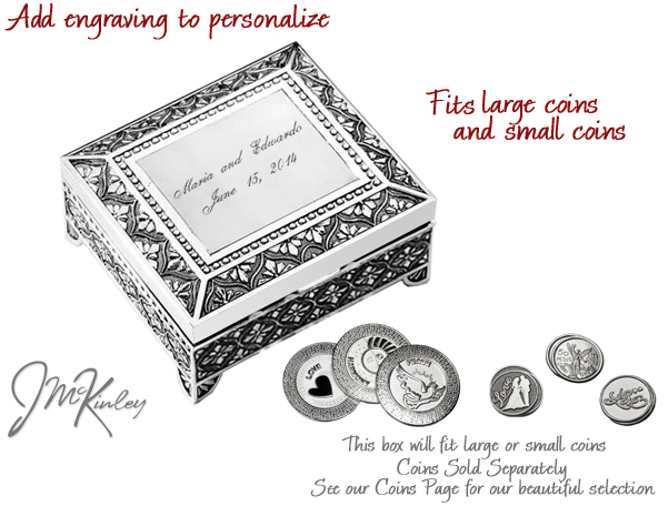 Silver arras box can be personalizedengraved