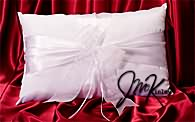 One Elegant white satin kneeling pillow with organza ribbons
