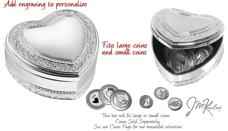 BLOWOUT SALE Silver Heart Arras box looks great with your names personalized Measures 3 1