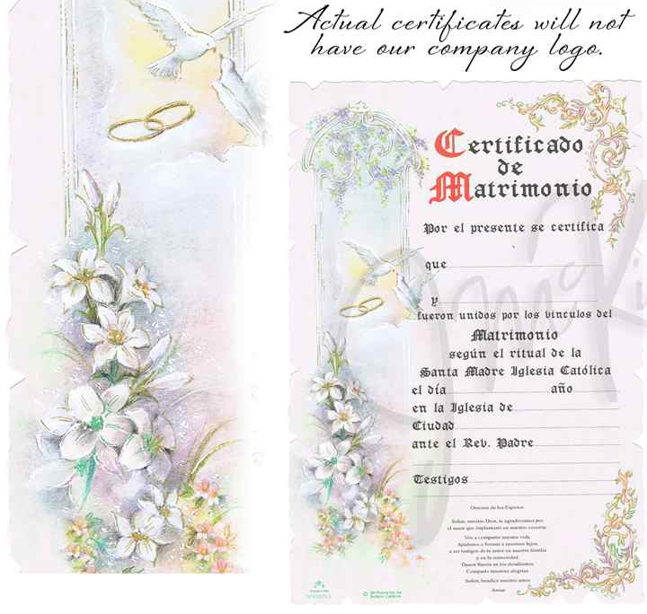 BLOWOUT SALE Spanish Marriage Certificate spanish wedding certificate