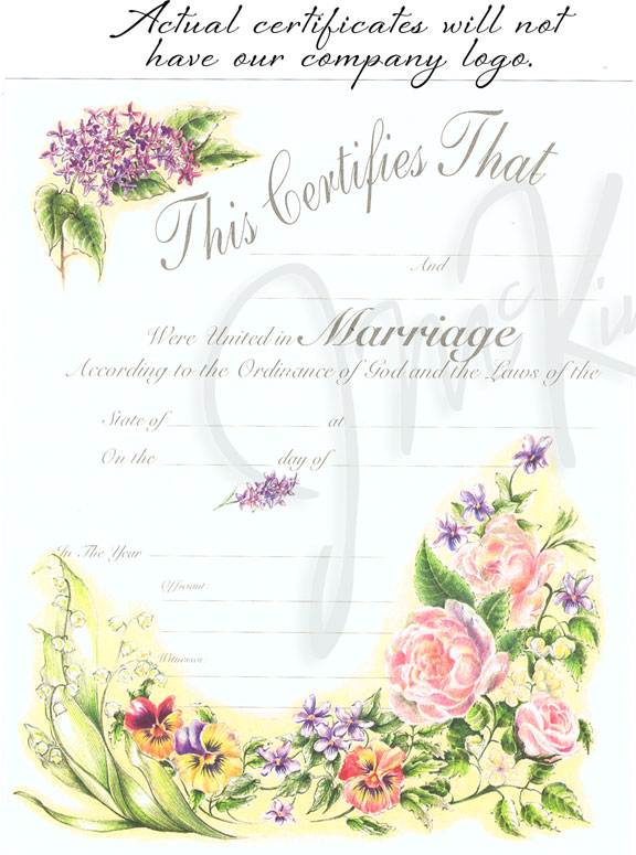 Victorian Floral Marriage Certificate wedding certificate