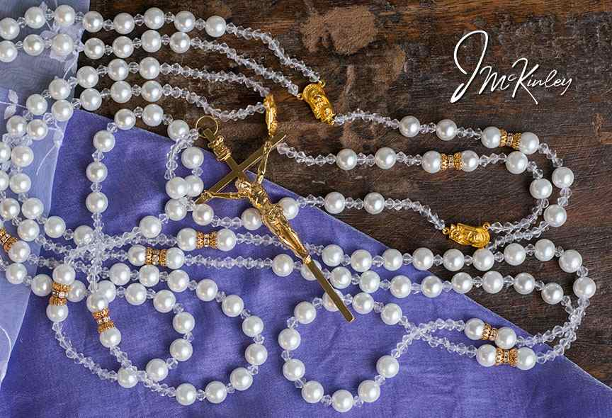BLOWOUT SALE Elegance Lazo Stunning Pearl design white pearls with czech fire glass go