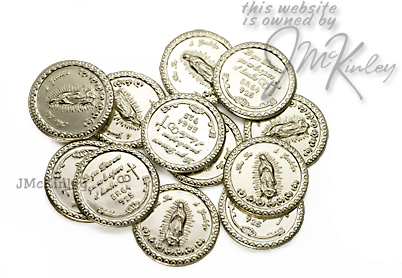 17mm Sterling Silver Wedding Arras Coins 13 Sterling Arras Coins Mary Lo que Dios une qu
