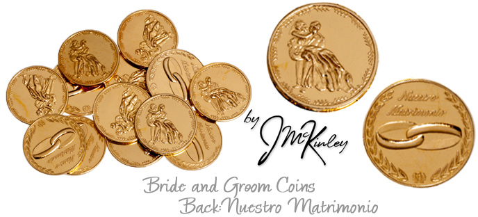 Gold plated Arras wedding coins with bride and groom on the front Wedding rings and NUEST