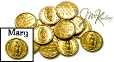 Wedding Arras Thirteen 14k Gold Plated Arras Coins Mary 13 coins say NTRA SRA DE GUADALU