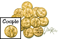 Gold wedding coins with bride and groom on front Clasped hands on the back with RECUERDO MATRIMONIAL