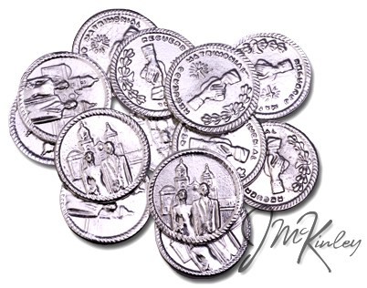 Silver wedding coins with bride and groom on front Clasped hands on the back with RECUERDO