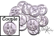 Silver wedding coins with bride and groom on front Clasped hands on the back with RECUERDO MATRIMONIAL