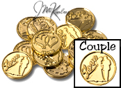 Gold wedding coins with Love and bride and groom silhouette on the front with double hearts and TOGETHER AS ONE on the back