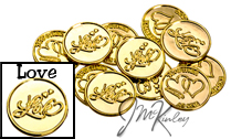 Gold Love Scroll wedding coins with double hearts and TOGETHER AS ONE on the back