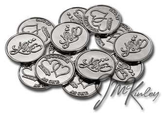 Silver Love Scroll wedding coins with double hearts and TOGETHER AS ONE on the back