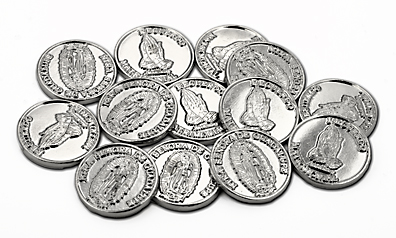 Silver wedding coins with Mary on front and praying hands on the back NTRA SENORA DE GUADA