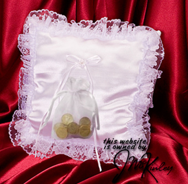 White square wedding coin pillow with sewn lace border  Holds large or small coins.